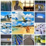 Collage des photos d'aéroport et d'avion Photographie stock