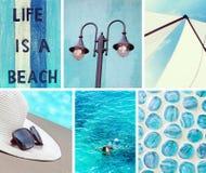 Collage des photos dans des couleurs bleues Photo libre de droits