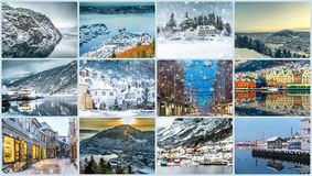 Collage des photos de Bergen Images stock