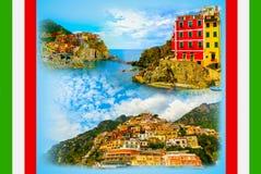 Collage des photos de Cinque Terre en Italie Photographie stock libre de droits