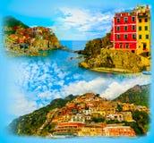 Collage des photos de Cinque Terre en Italie Photo stock