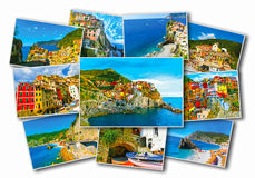 Collage des photos de Cinque Terre en Italie Image libre de droits