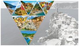 Collage des photos de Cinque Terre en Italie Images libres de droits