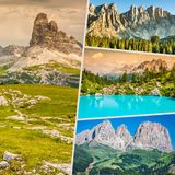 Collage des photos de touristes de l'Italie photos stock