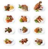 Collage des plats de restaurant d'isolement sur le blanc photo libre de droits