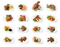 Collage des plats de restaurant d'isolement sur le blanc photographie stock libre de droits