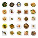 Collage des plats de restaurant d'isolement sur le blanc images stock