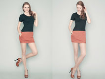Collage des portraits émotifs d'un modèle roux magnifique Photo libre de droits