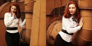 Collage des portraits de vintage de belle fille rousse Photos stock