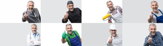 Collage des portraits professionnels de travailleurs photographie stock libre de droits