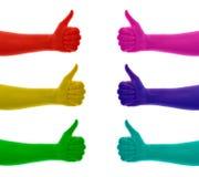 Collage des pouces vers le haut de la main colorée sur rouge, jaune, vert, bleu, cyan, rose, magenta illustration libre de droits