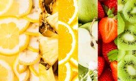 Collage des rayures verticales avec des fruits frais Images libres de droits