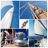 Collage des Segelbootmaterials - Handkurbel, Seile, Yacht im Meer stockfotografie