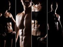 Collage des Sitzes und der sexy männlichen und weiblichen Körper stockfotografie