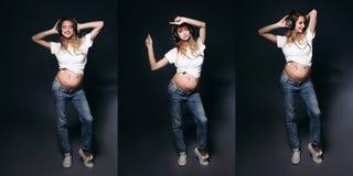 Collage des stilvollen schwangeren Muttertanzens am Studio lizenzfreie stockbilder