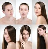 Collage des unterschiedlichen Frauenporträts Lizenzfreie Stockfotos