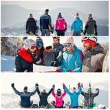 Collage des vacances d'hiver à la station de sports d'hiver photos libres de droits