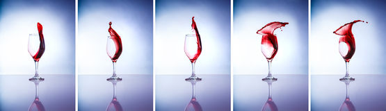 Collage des verres de vin Images libres de droits