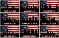 Collage des villes célèbres des Etats-Unis d'A à D illustration de vecteur