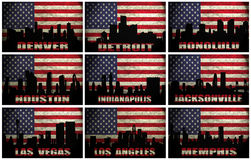 Collage des villes célèbres des Etats-Unis de D à M illustration de vecteur