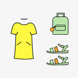 Collage des weiblichen Kleidungsmädchenvektors stockbild