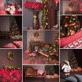 Collage des Weihnachtsinnenraums Stockbilder