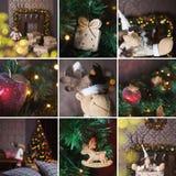 Collage des Weihnachtsinnenraums Stockfotos