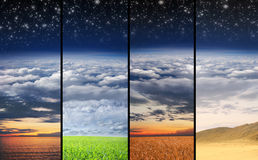 A collage of a desert, sky and space Royalty Free Stock Image