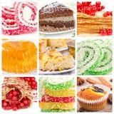 Collage of dessert Stock Photos