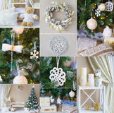 Collage with details of holidays decorated interior Stock Photo