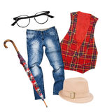 Collage di abbigliamento e degli accessori Fotografia Stock Libera da Diritti