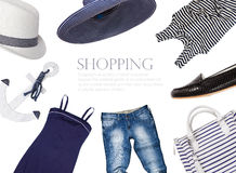 Collage di abbigliamento e degli accessori in uno styl marino Fotografie Stock Libere da Diritti
