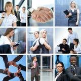 Collage di affari fatto di alcune maschere di affari Fotografia Stock