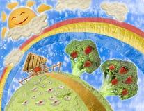 Collage di alimento nello stile dei disegni dei bambini Fotografia Stock