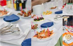 Collage di approvvigionamento di nozze - alimento e terrecotte per la cena di ripetizione fotografie stock