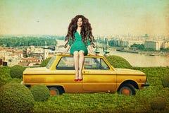 Collage di arte con la bella giovane donna Immagini Stock Libere da Diritti
