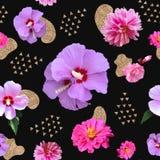 Collage di arte contemporanea con i fiori e gli elementi tirati illustrazione di stock