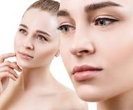 Collage di bella donna sensuale con pelle pulita perfetta sul fronte immagini stock libere da diritti