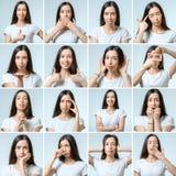 Collage di bella ragazza con differenti espressioni facciali fotografie stock