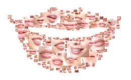 Collage di belle donne che sorridono vicino sui colpi Fotografia Stock