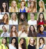 Collage di belle giovani donne fra diciotto e trenta sì Fotografie Stock Libere da Diritti