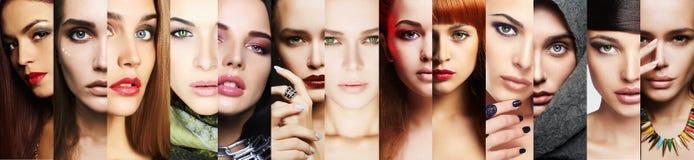 Collage di bellezza Fronti delle donne Primo piano di trucco Fotografia Stock