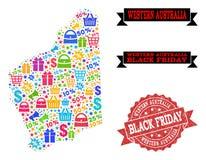 Collage di Black Friday della mappa di mosaico del bollo di emergenza e di Australia occidentale illustrazione di stock