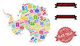 Collage di Black Friday della mappa di mosaico dell'Antartide e del bollo di emergenza illustrazione vettoriale