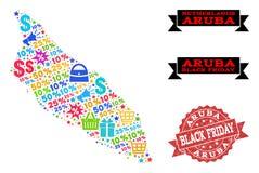 Collage di Black Friday della mappa di mosaico dell'isola di Aruba e del bollo graffiato illustrazione di stock