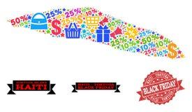 Collage di Black Friday della mappa di mosaico dell'isola di Haiti Tortuga e della guarnizione di emergenza illustrazione di stock