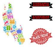 Collage di Black Friday della mappa di mosaico dell'isola di Zanzibar e della guarnizione di lerciume illustrazione di stock
