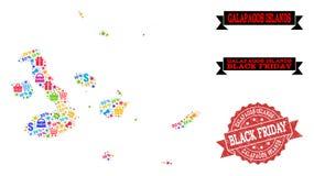 Collage di Black Friday della mappa di mosaico delle isole Galapagos e del bollo strutturato illustrazione vettoriale