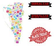 Collage di Black Friday della mappa di mosaico di Gibilterra e della guarnizione strutturata illustrazione vettoriale
