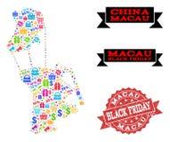 Collage di Black Friday della mappa di mosaico di Macao e della guarnizione graffiata illustrazione vettoriale
